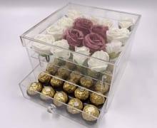 קופסא לסידור פרחים ושוקולד
