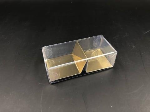 קופסת PVC + בסיס זהב ל-2 מקרונים 87/42/26