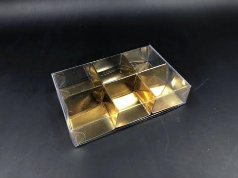 קופסת PVC + בסיס זהב ל-6 מקרונים 125/82/26