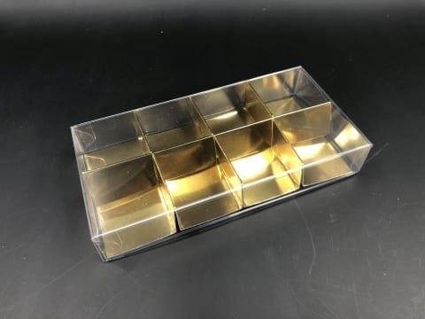 קופסת PVC + בסיס זהב ל-8 מקרונים 164/82/26